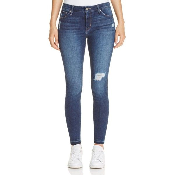 Sanctuary Robbie High Release Distressed Skinny Jeans in Daybreak ($105) ❤ liked on Polyvore featuring jeans, daybreak wash, blue denim jeans, destroyed denim jeans, blue ripped jeans, distressed jeans and cuffed jeans