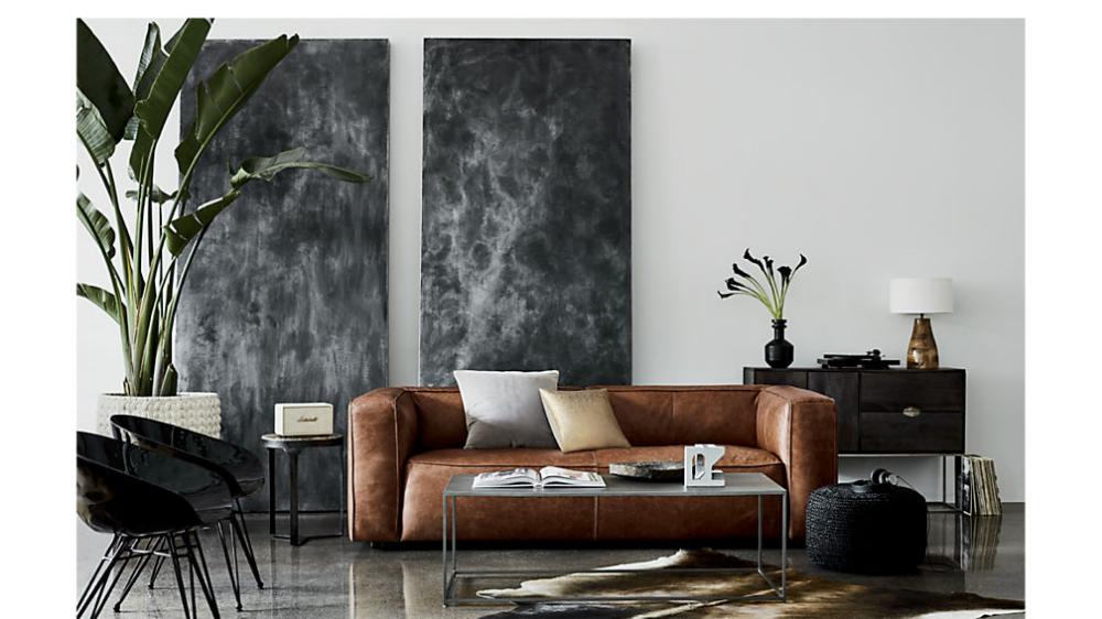 Lenyx Saddle Leather Sofa Reviews Cb2 Tropical Decor Living