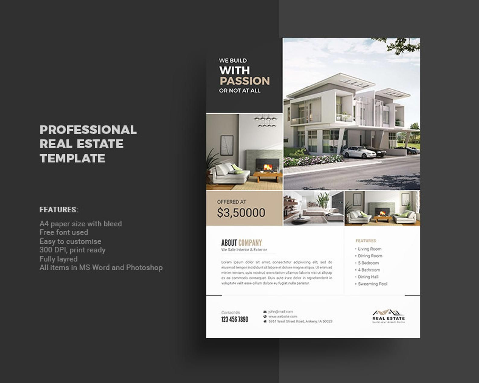 Real Estate Flyer Template Photoshop And Ms Word Template