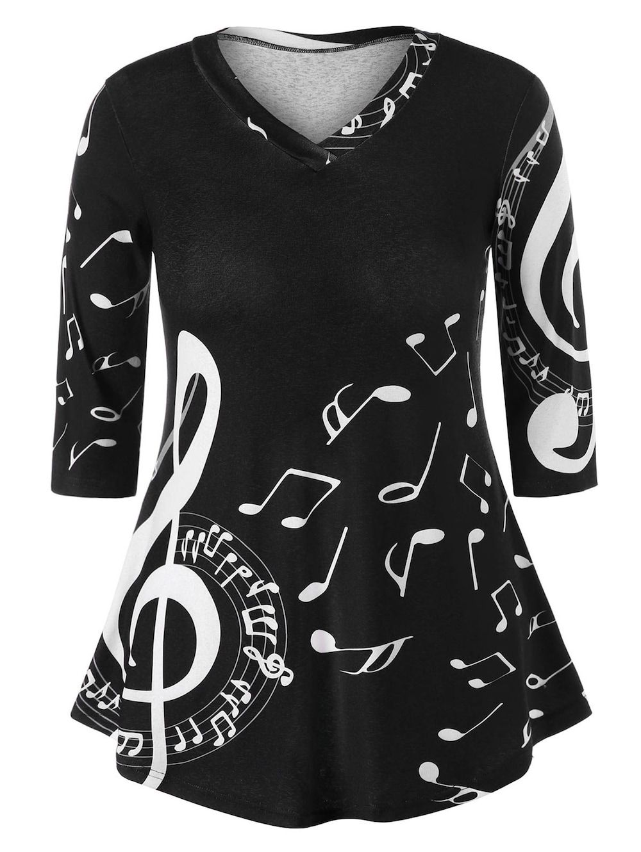 1c4ca11052adb Cheap Women S Fashion Websites. Plus Size Music Note Swing T-shirt - BLACK  5XL