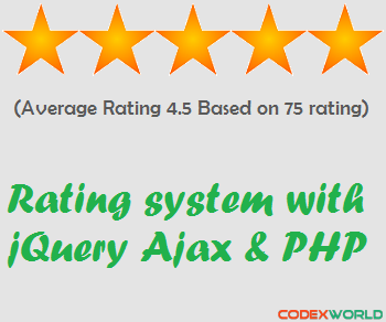 Star Rating System With Jquery Ajax Php And Mysql Codexworld Web Development Tutorial Jquery Rating System