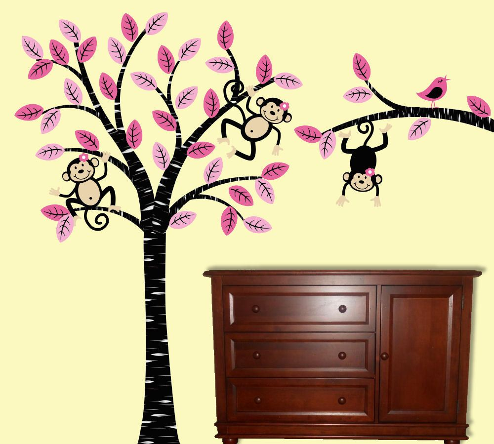 Girl Monkey Tree Wall Decal Children Nursery Decor | Nursery décor ...