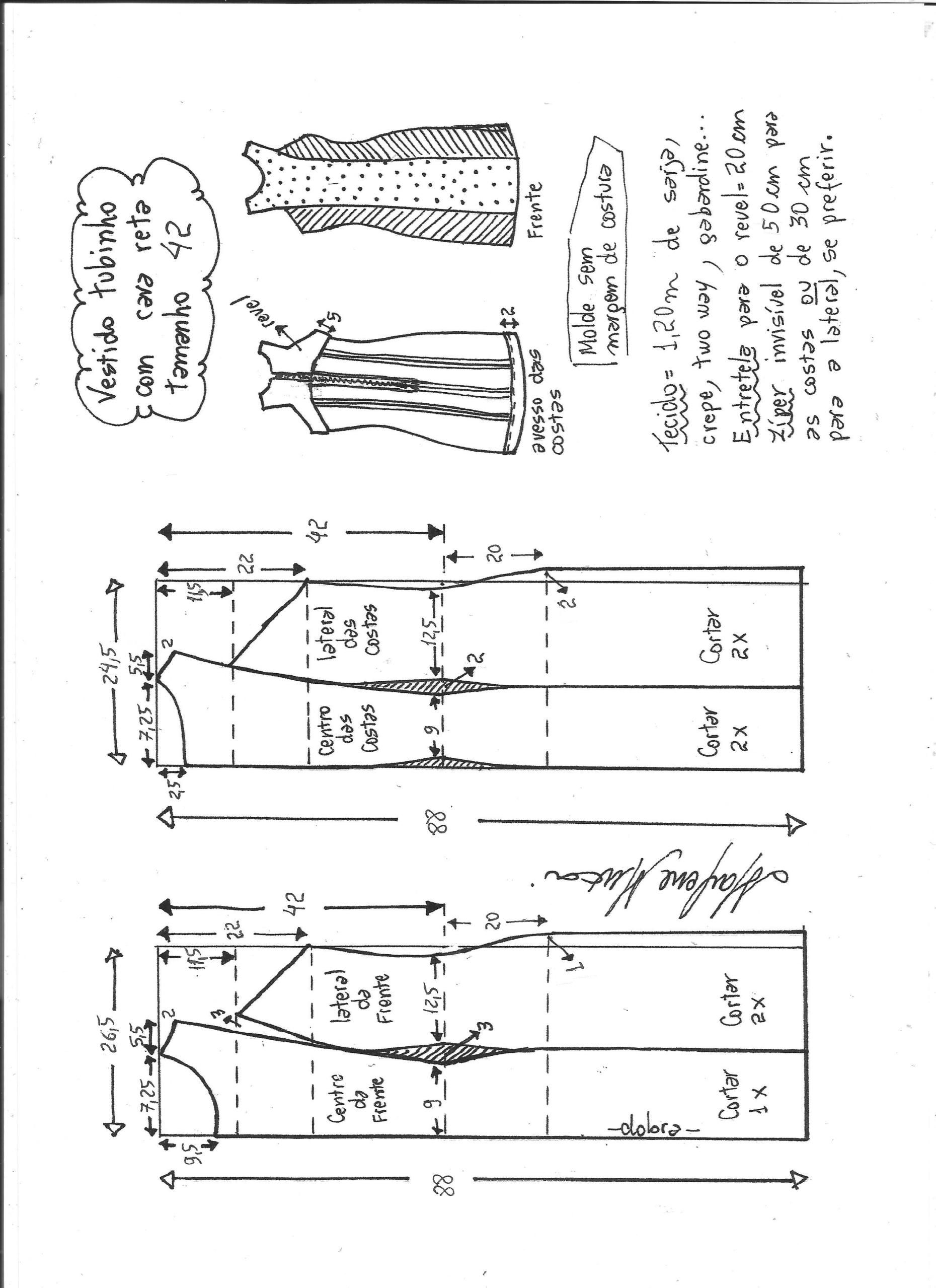 Vestido tubinho cava reta | Molde, Costura y Patrones