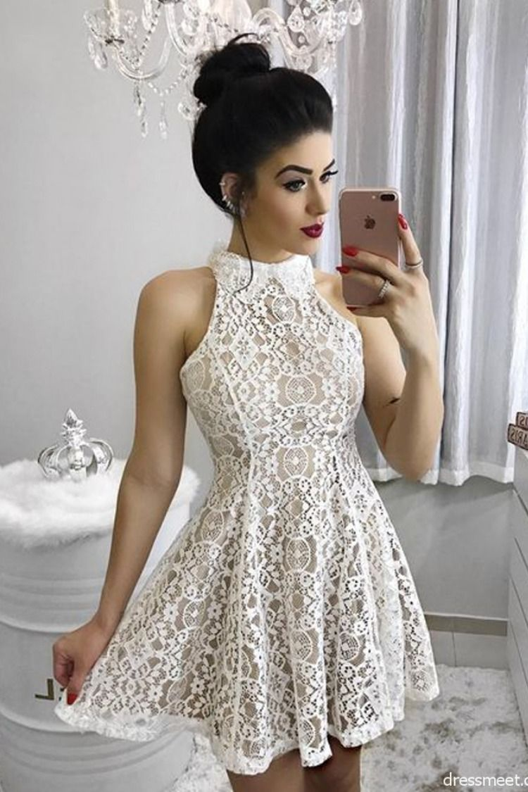 Short White Lace Homecoming Dress Party Dress Homecoming Dresses Sweet 16 Dresses Mini Homecoming Dresses [ 1125 x 750 Pixel ]
