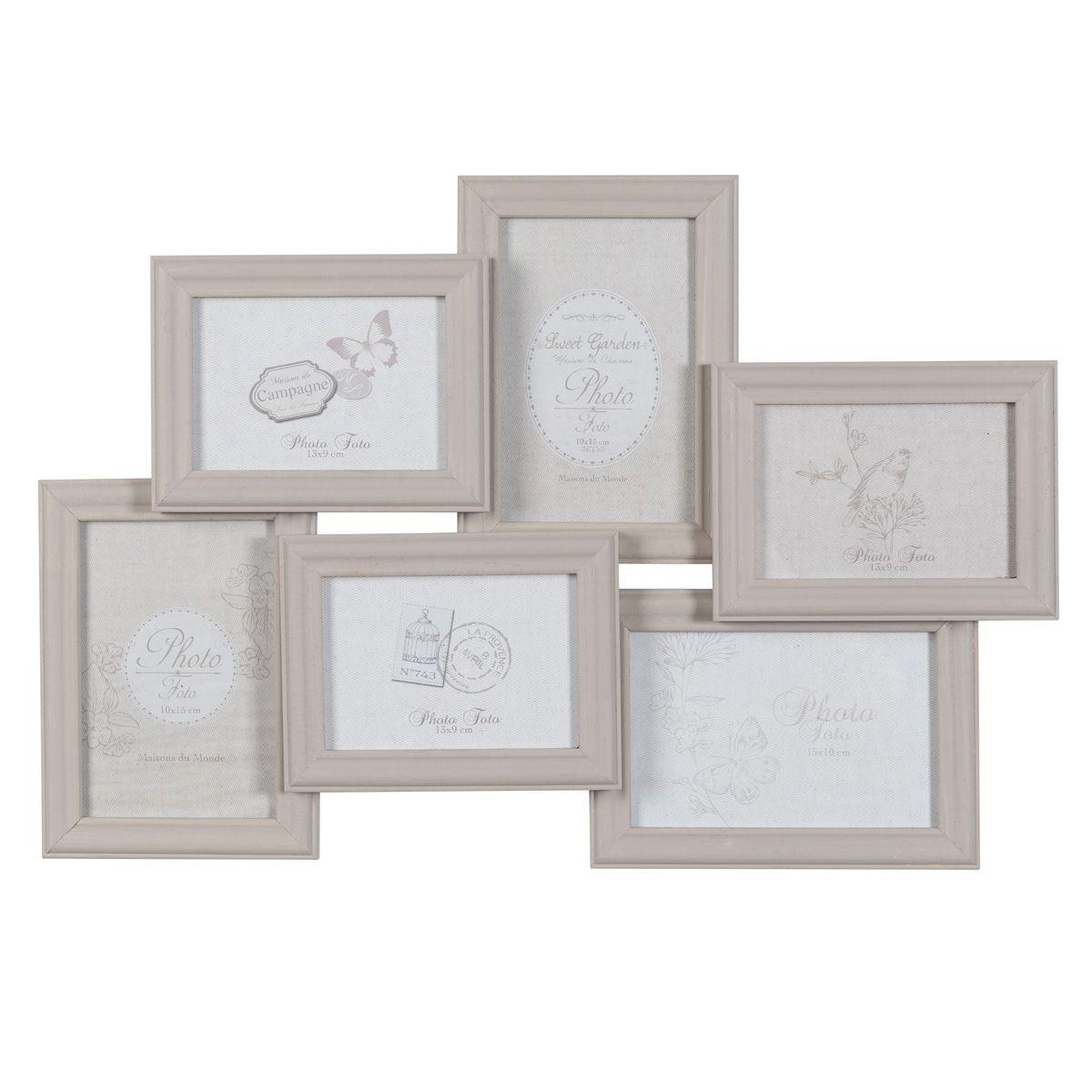 Marco para 6 fotos de madera beis | marcos multifotos | Pinterest ...