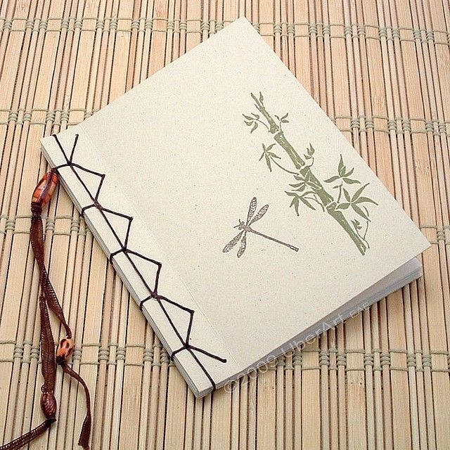 Bamboo And Dragonfly Japanese Stab Book