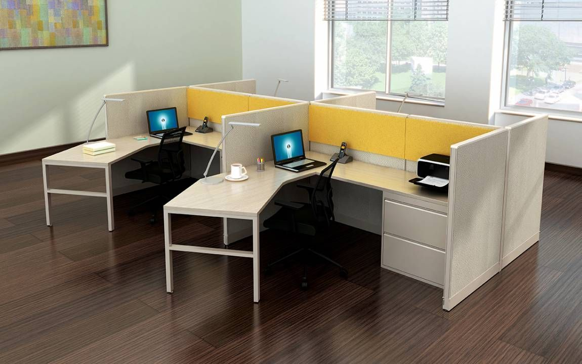 Curved L Shape Cubicle Desk Workstations In 2020 Office