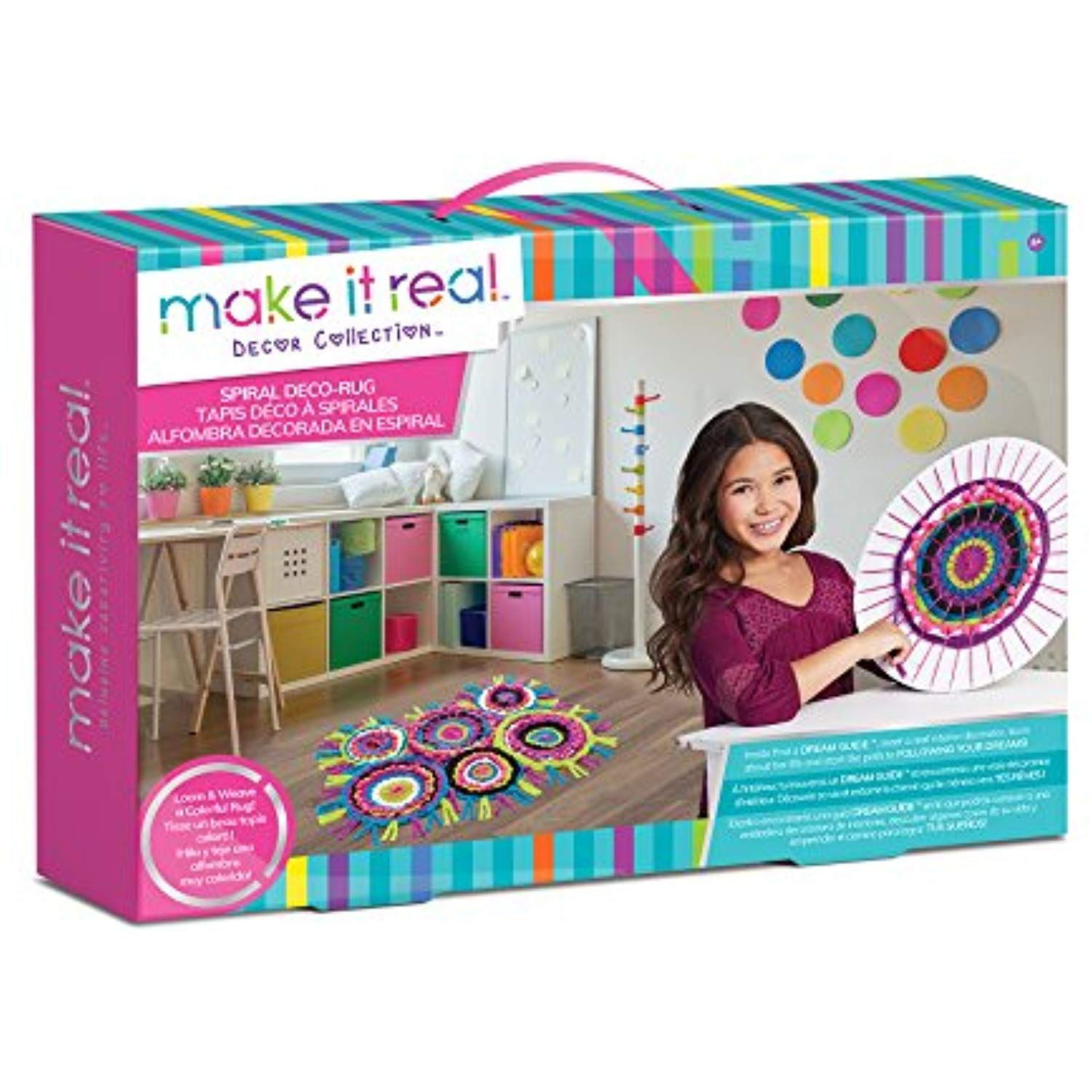 Make It Real Spiral Deco Rug Weaving Loom Craft Kit For Kids
