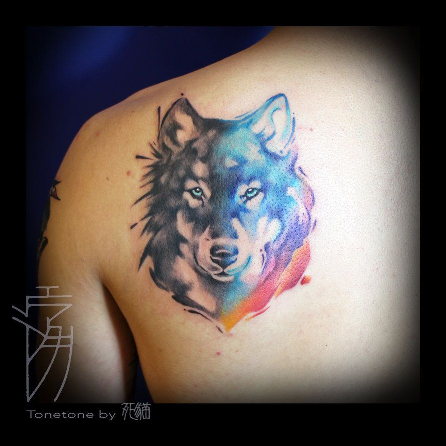 Wolf Watercolor By Sakura1690 Husky Tattoo Watercolor Wolf