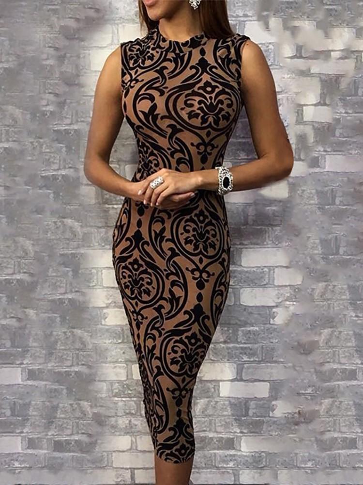 b6b4fea9309 Baroque Print Sleeveless Slinky Midi Dress (S M L XL)  29.99 ...