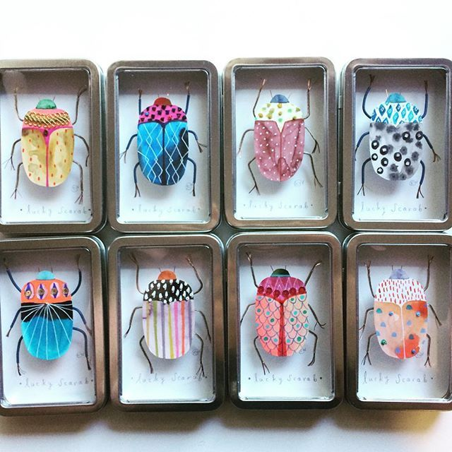 Here are the final lucky scarabs that I made for all the amazing ladies at Lilla Rogers's Studio @lillarogers. 😁
