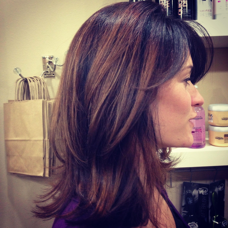 Long hair long layers auburn highlights balyage highlights brown