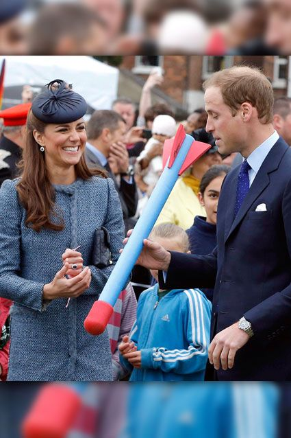 """Prince William and Kate Middleton went head-to-head with a foam javelin. The prince came out on top, reportedly throwing the rocket five feet farther than his wife. As part of the Diamond Jubilee celebration, William spoke at the event, saying, """"Fields in Trust is very dear to my grandparents' hearts, as it is to mine."""" Queen Elizabeth II was present for the event at Vernon Park in Nottingham, England. http://et.tv/KKm46Y"""