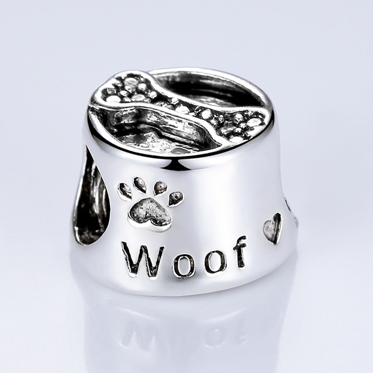 BAMOER Vintage 18K Silver Plated Cute Dog Footprint & Bone European Beads for Bracelet Gifts