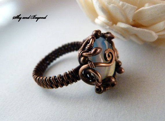 Moon Transit Trine  Copper Ring Wire Wrapped with by SkyAndBeyond