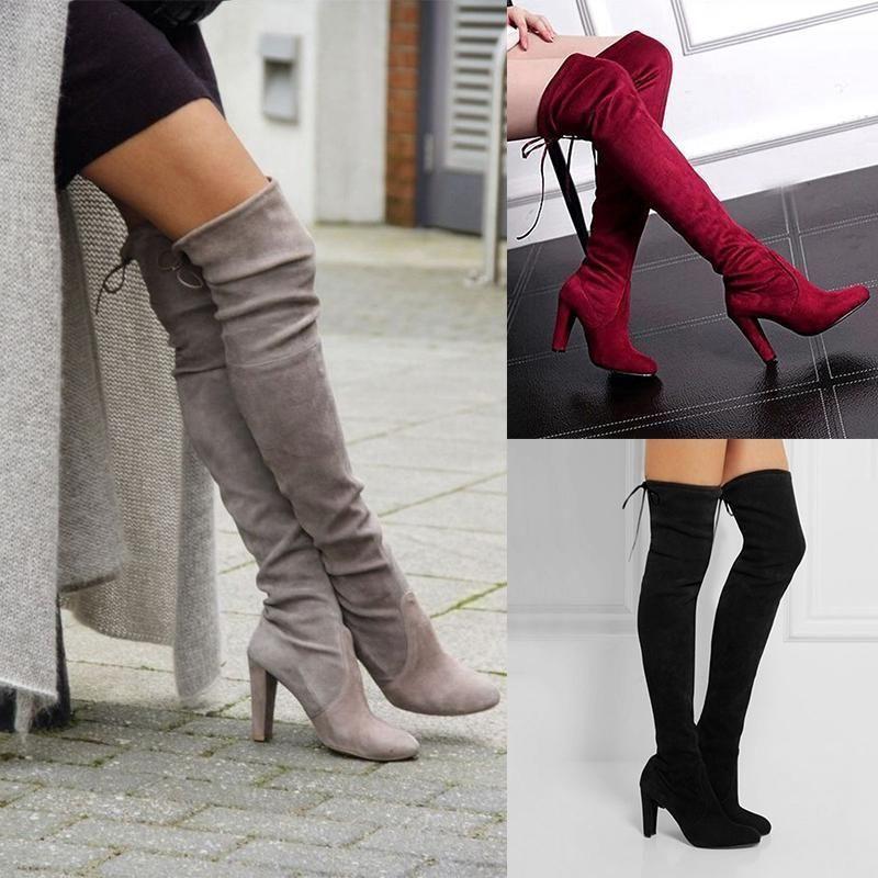 Neu Damen Stiefel über Knie Ferse Winter Herbst Slip-On Freizeit Schnür-Schuhe