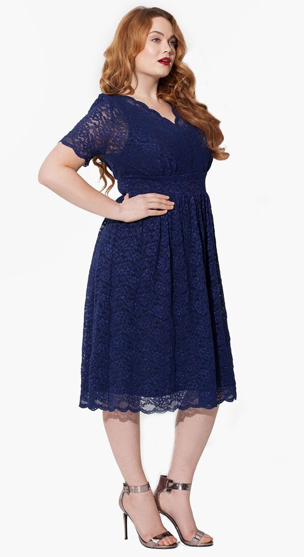 Navy blue plus size dress 08 for Blue wedding dresses plus size