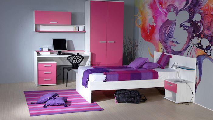 jugend zimmer kreativ einrichten und gestalten lila und rosa akzente - kinderzimmer kreativ gestalten ideen