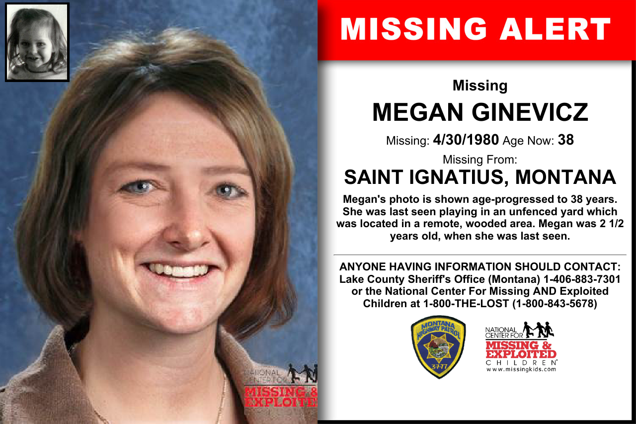 Megan Ginevicz Age Now 38 Missing 04 30 1980 Missing From Saint Ignatius Mt Anyone Having Information Should Contact St Ignatius Word Find Kids Poster