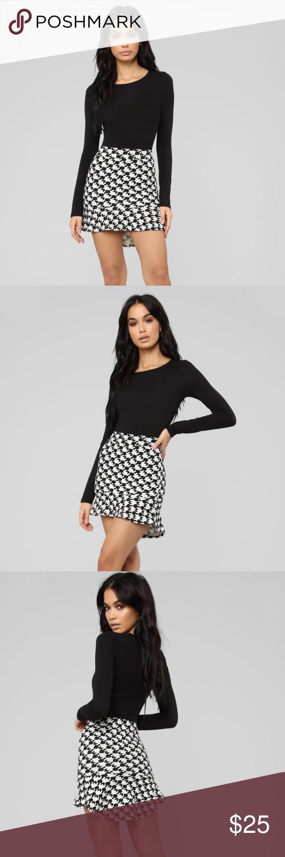 Houndstooth Skirt Fashion Nova