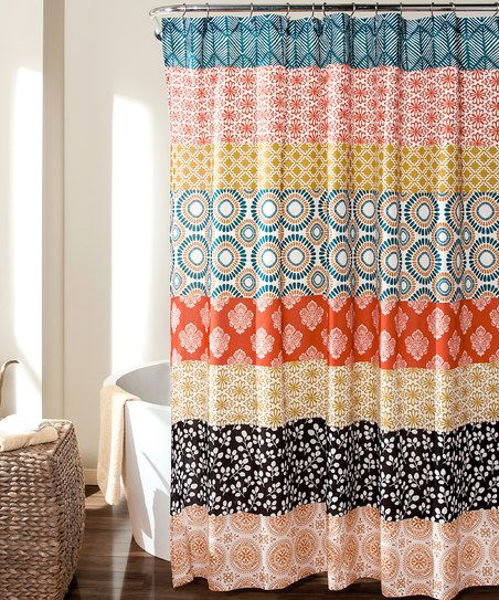 Brighten Bathroom Dcor With This Vibrant Boho Striped Shower Curtain It Can Be Tossed In The Wash For Easy Care