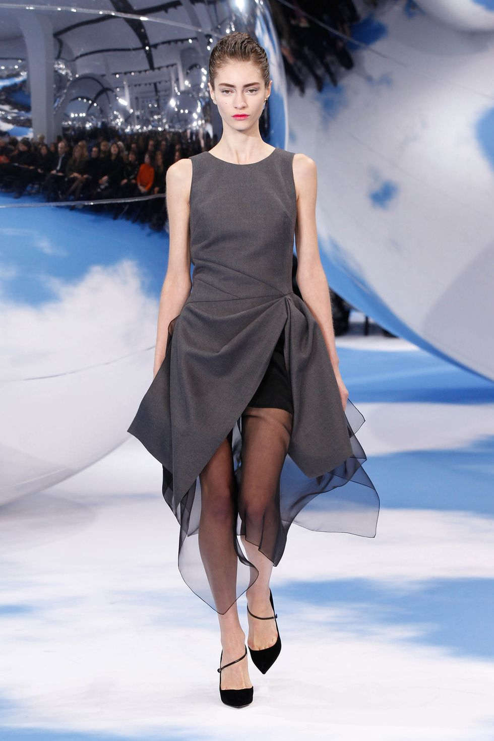 Dior Autumn-Winter 2013 Ready-to-Wear – Look 40: grey flannel dress. Discover more on www.dior.com #Dior#PFW