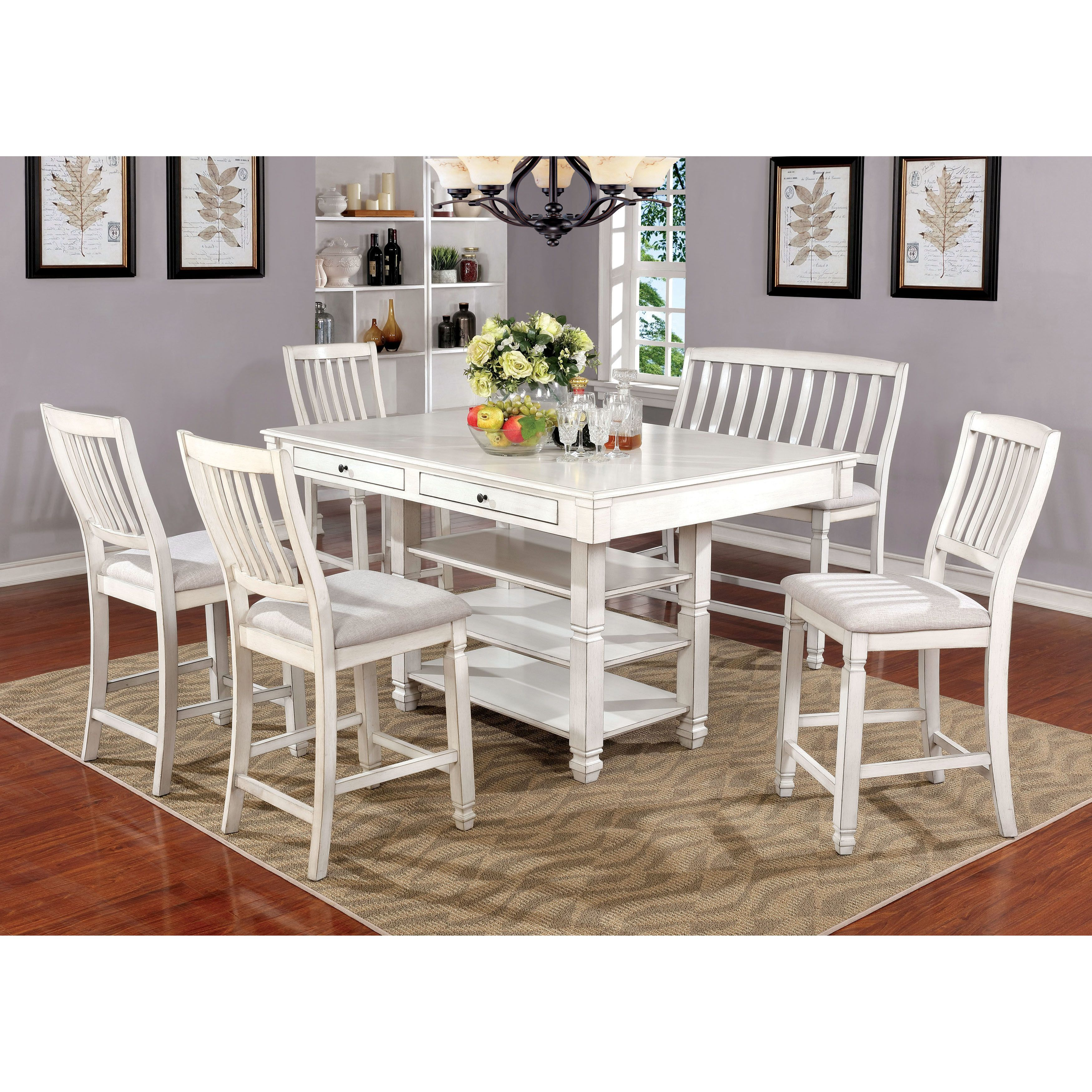 Furniture of america seren country style piece antique white