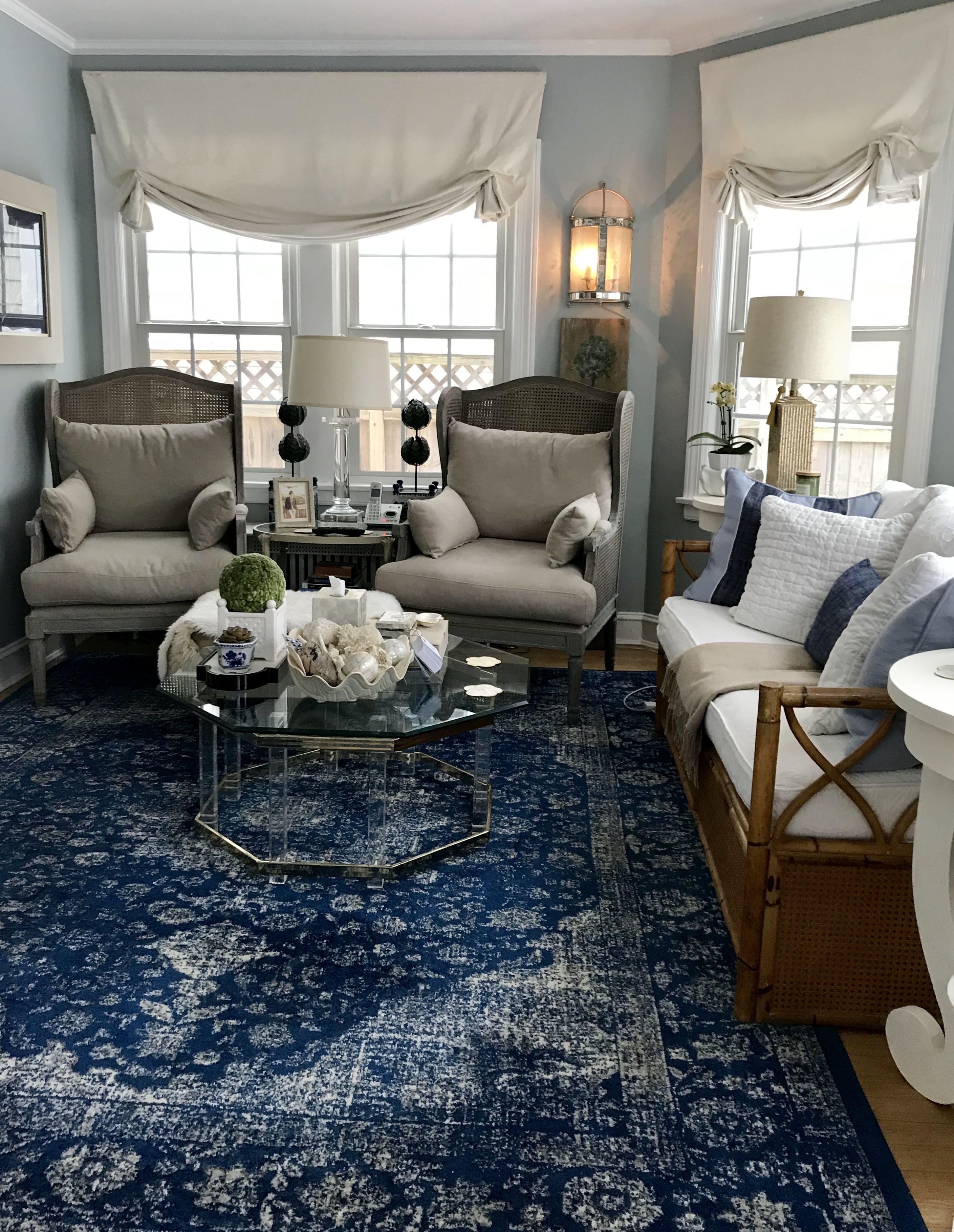 Blue And White Sunroom Blue Living Room Decor Spring Living Room Blue Living Room