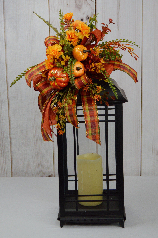 "Fall Thanksgiving Farmhouse Lantern Swag /""SUNFLOWER GARDEN/"" Natural Burlap"