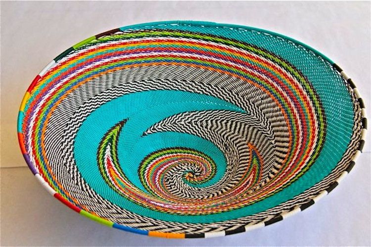 African Telephone Wire Bowl - TURQUOISE - Multicolor swirl by Hadeda ...