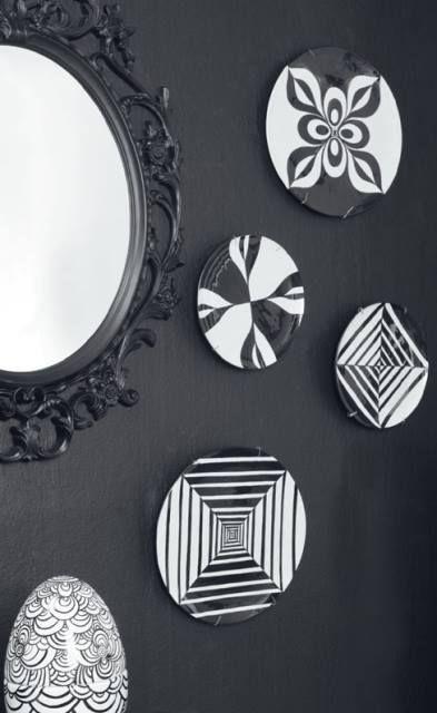 DIY decoupage - black-white acrilic paint geometric patterns