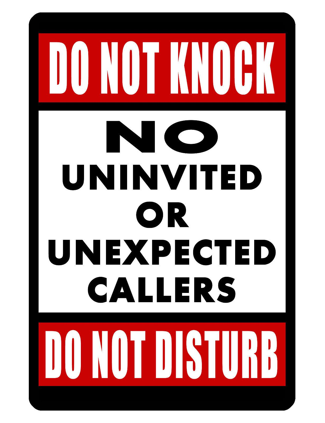 DO NOT KNOCK//DISTURB SIGN DURABLE ALUMINUM NO RUST FULL COLOR CUSTOM SIGN DD#431