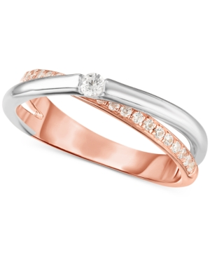 9ff05dedd0 Swarovski Zirconia (1/2 ct. t.w.) Two-Tone Ring in Sterling Silver & 18k  Rose Gold-Plate - Sterling Silver/Rose Plated