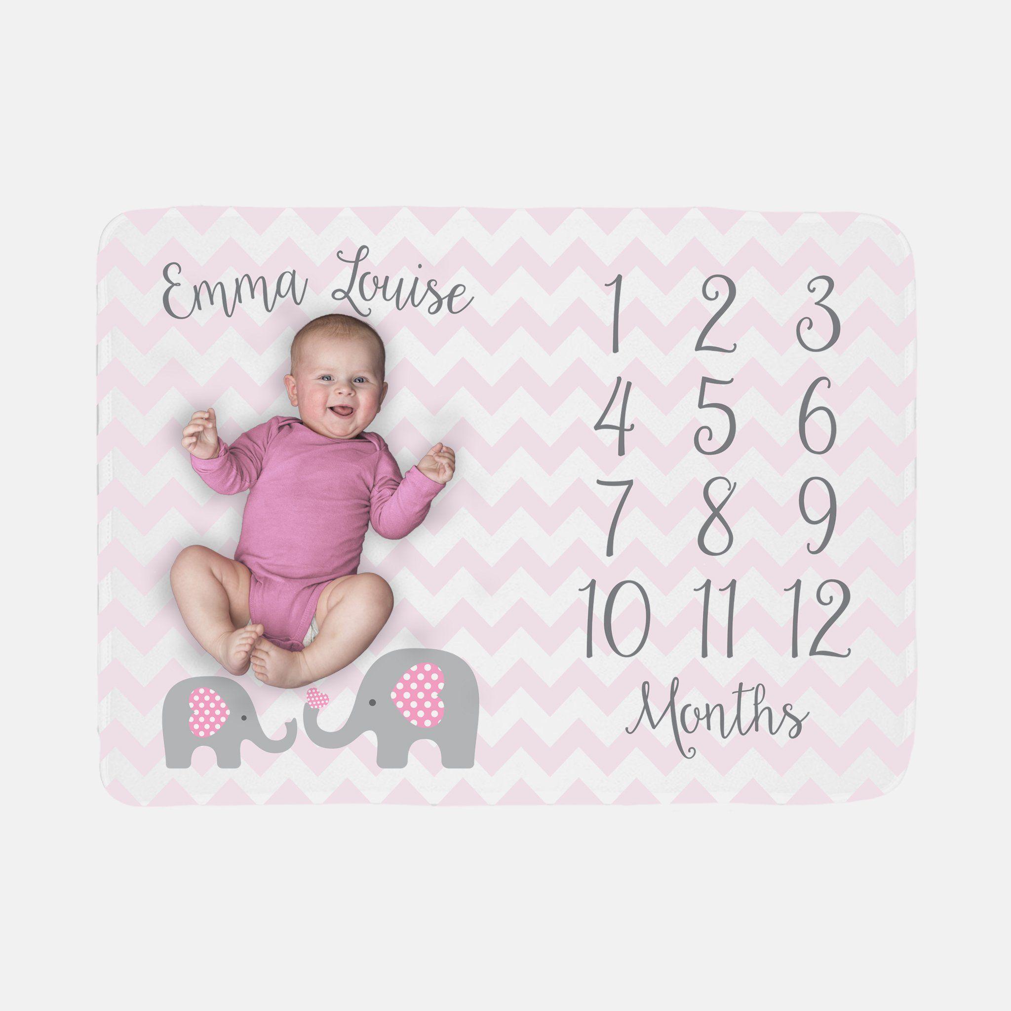 Baby Girl Monthly Fleece Blanket Pink Elephant Milestone Month Growth Tracker