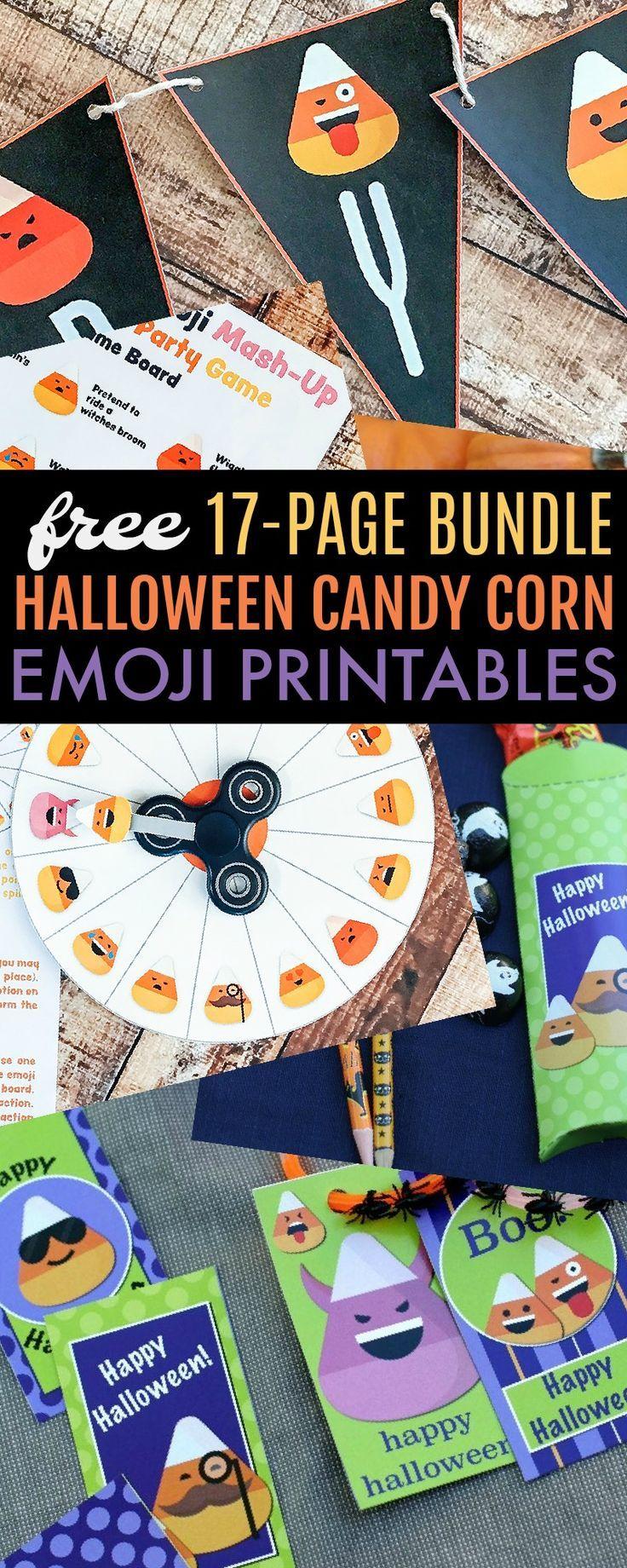 FREE Halloween Candy Corn Emoji Printable Bundle