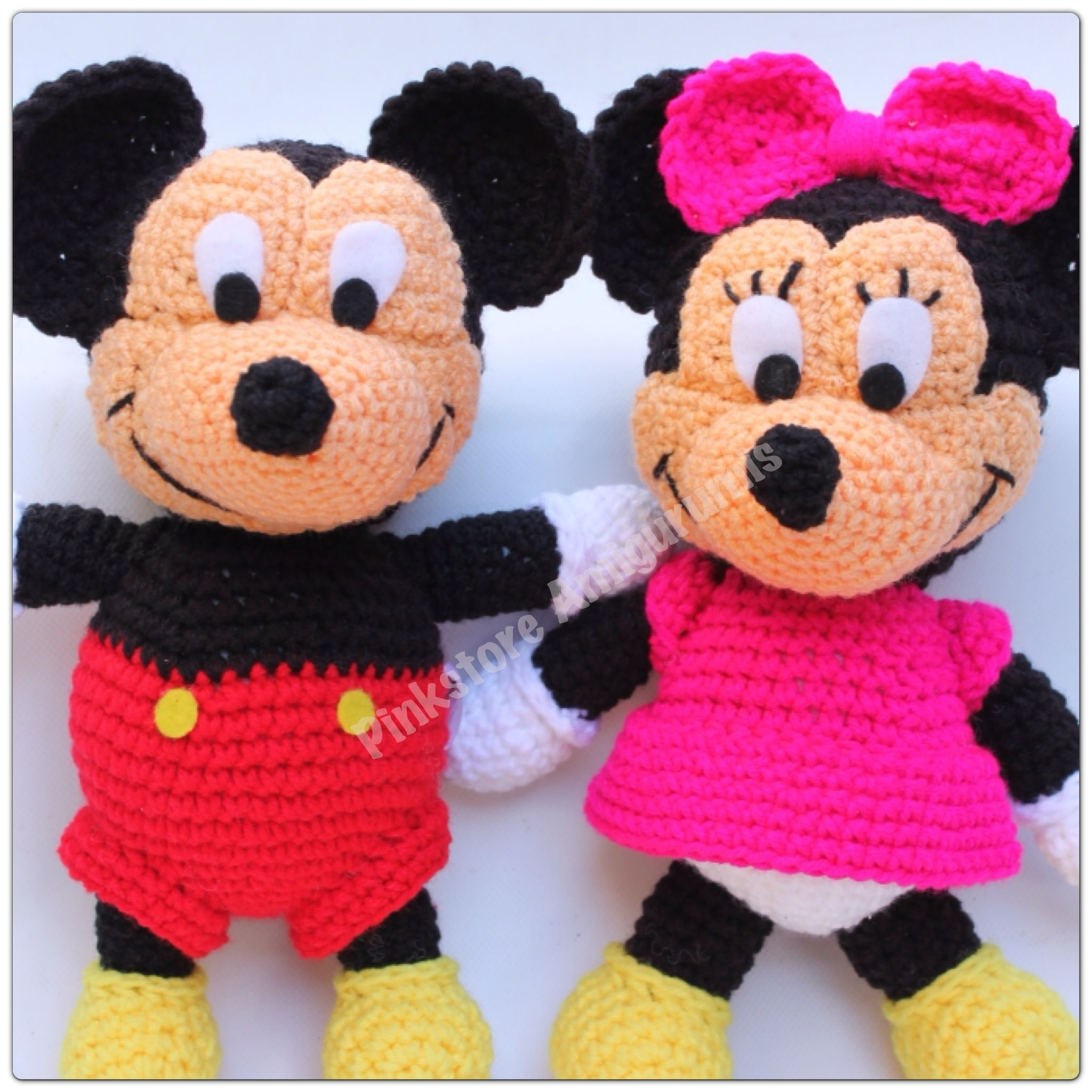 Minnie and Mickey by Pinkstore amigurumis. < 3 | Crochet toys, dolls ...