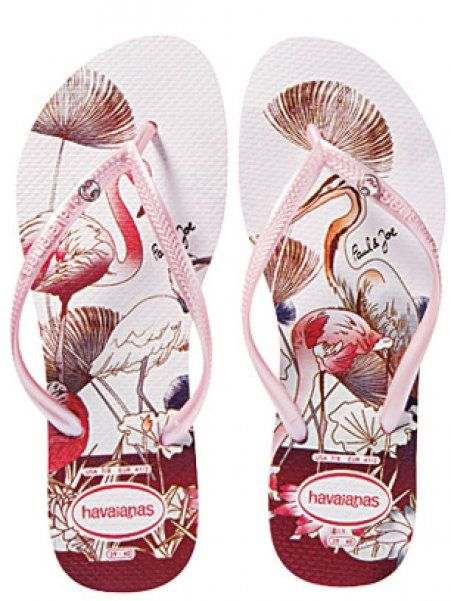 3e95b52fb5af43 Havaianas in pink with flamingo Wedge Flip Flops
