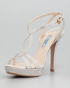 Prada Satin Crystal Strass T Strap Sandal Homecoming Shoes Prom Shoes Evening Shoes