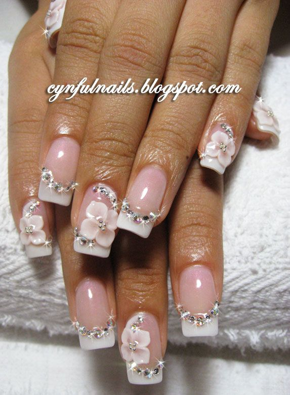 French Tip Nails With Glitter Designs And Flowers To Accent The Nail Bridal Nail Art Bling Nails Bridal Nails