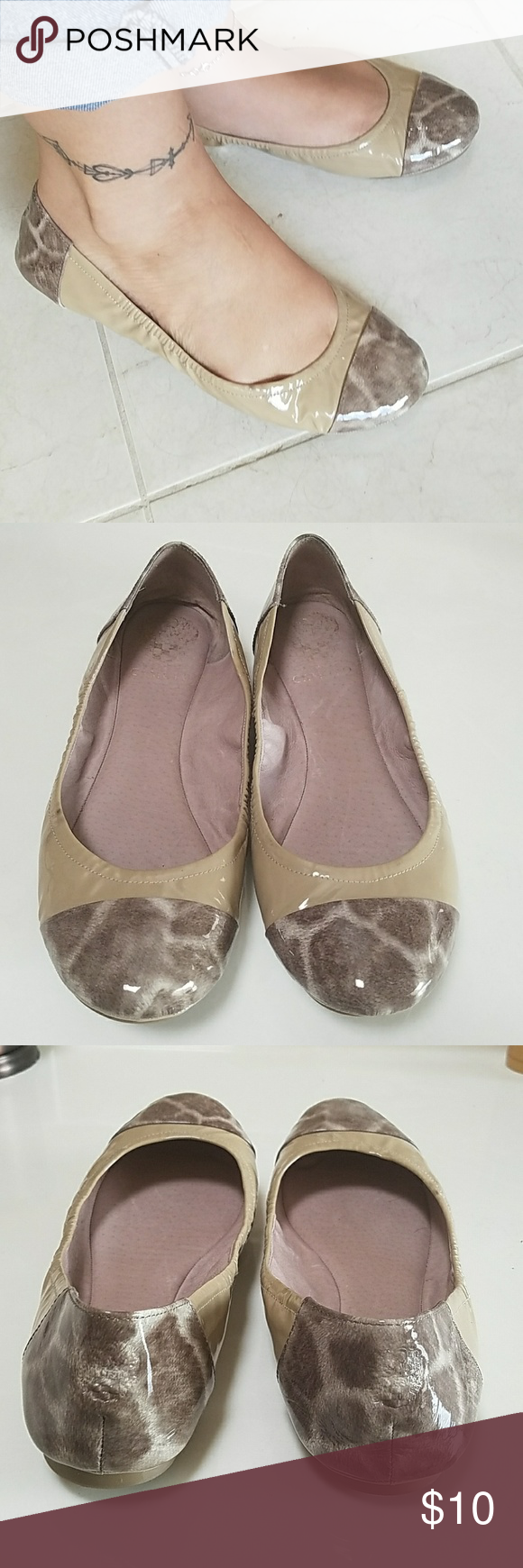 Vince Camuto flats Slightly used. Animal print & taupish/deep beige color. One mark on the inner part of right shoe (see pic) unnoticeable though only you would know it's there. These will you last you a while. Not trying to make money off these just want someone to enjoy. Purchased from DSW. Shoes Flats & Loafers