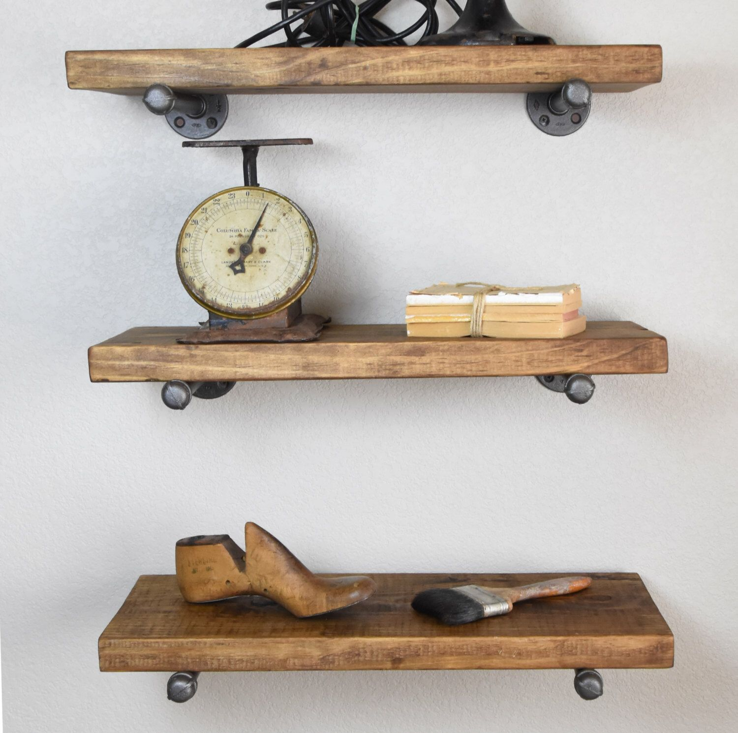 Set Of 3 9 25 Deep Industrial Floating Corner Shelves Etsy Wood Floating Shelves Floating Shelves Rustic Floating Shelves