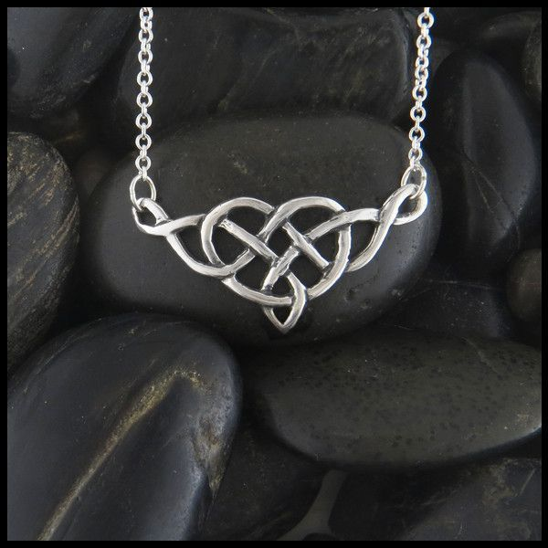Heart knot bar necklace heart knot celtic heart and sterling silver an open knotwork celtic heart pendant in sterling silver aloadofball