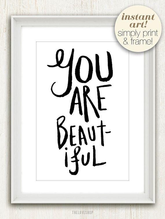 You Are Beautiful (in Black and White) No 016 - 4x6 Printable - email sign up sheet template