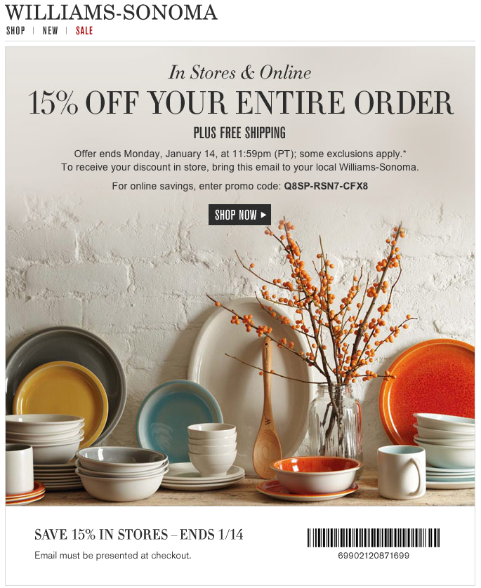 photograph about Williams Sonoma Coupons Printable identify Williams-Sonoma: 15% off Printable Coupon Coupon codes Property