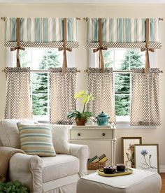 Sweetwater Stripe Tier Curtains By Country