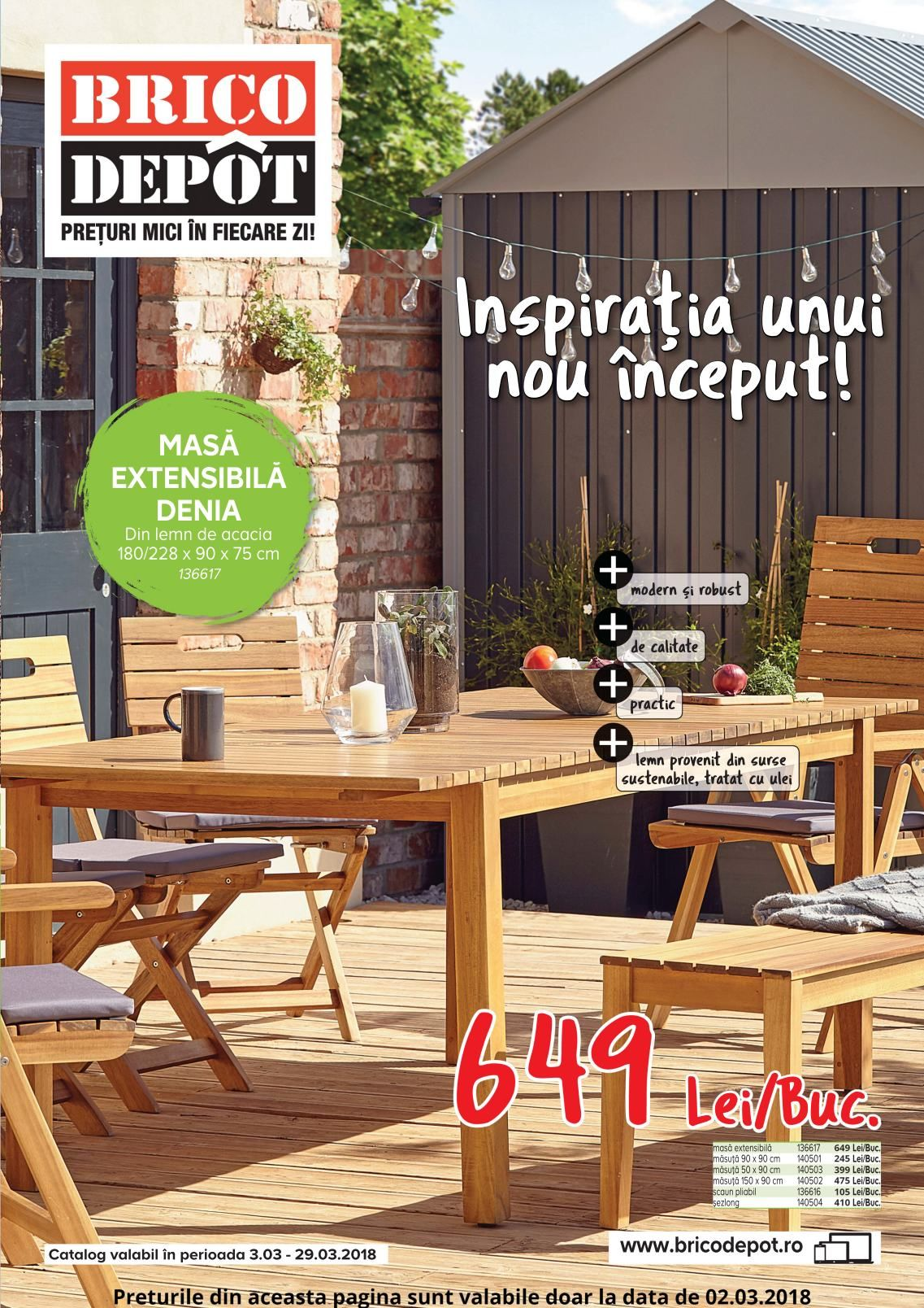 Catalog Brico Depot Inspiratia Unui Nou Inceput 03 29 Martie 2018 Outdoor Furniture Sets Outdoor Furniture Outdoor Decor