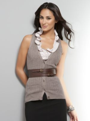 Women's Brown Ribbed Button-up Sweater Vest by New York & Company ...