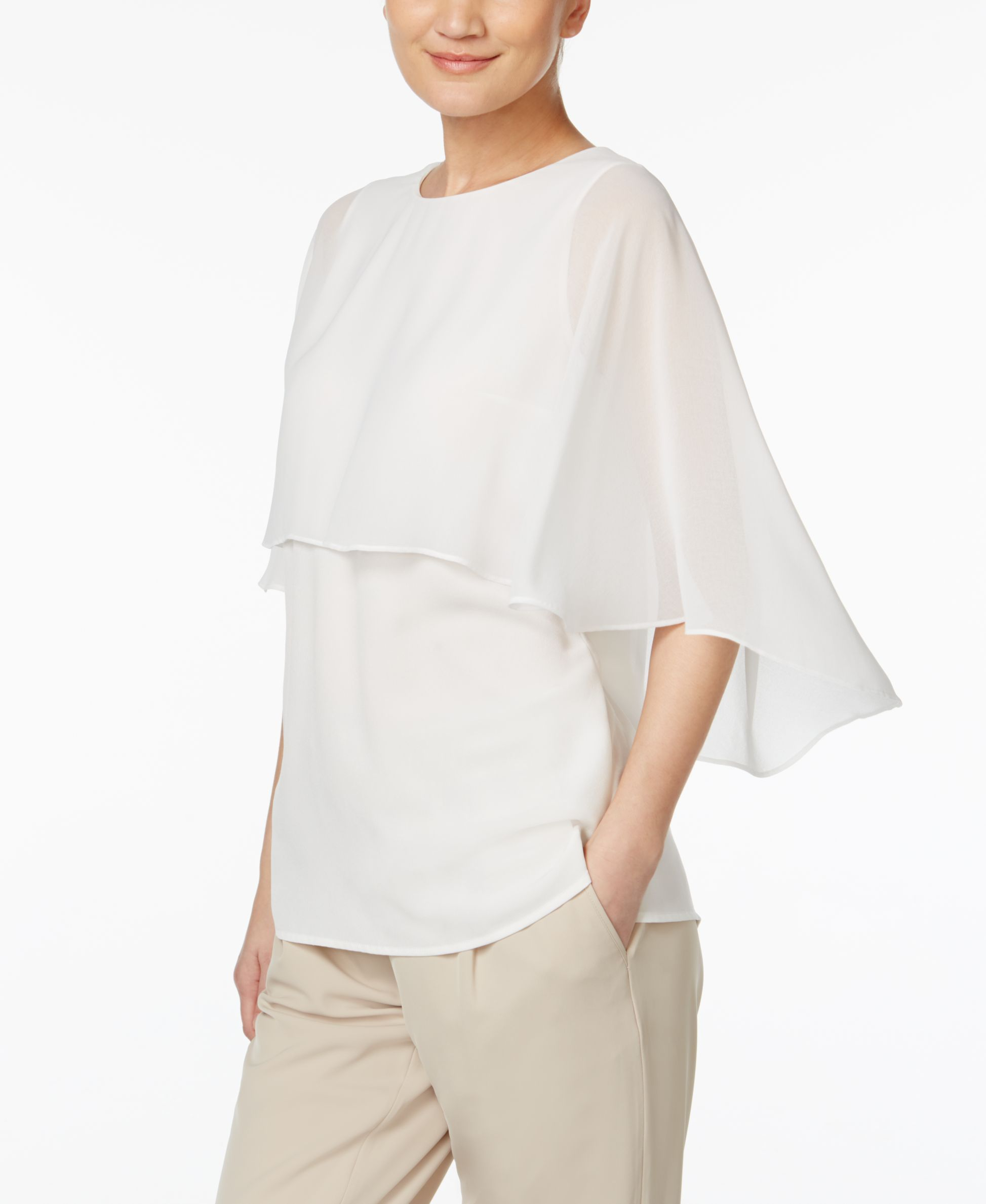 5621276634eb68 Calvin Klein Poncho-Overlay Blouse   Products   Blouse, Ruffle ...