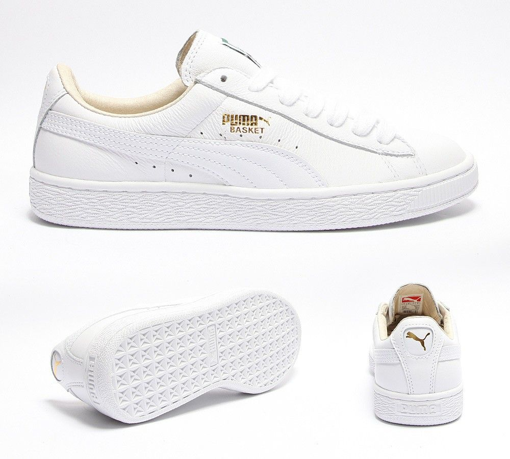 Puma Womens Basket Leather Trainer | White | Footasylum