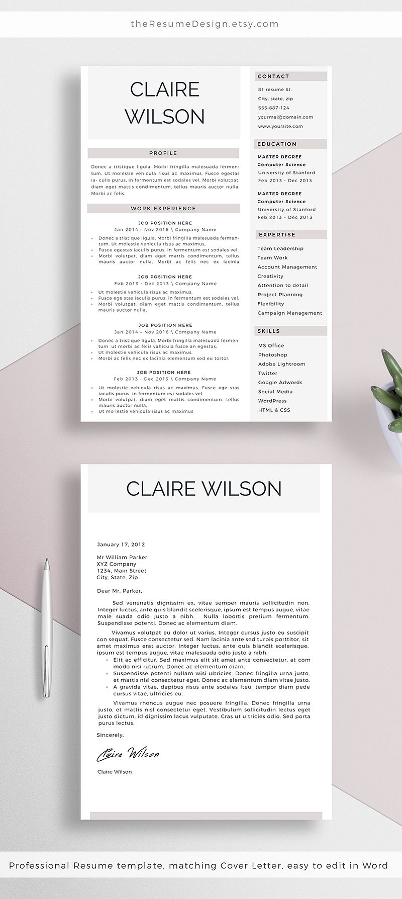 professional resume template   cover letter for word  creative cv design  instant download  a4